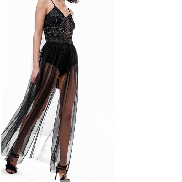 Embellished Festival Bodysuit with Mesh Skirt